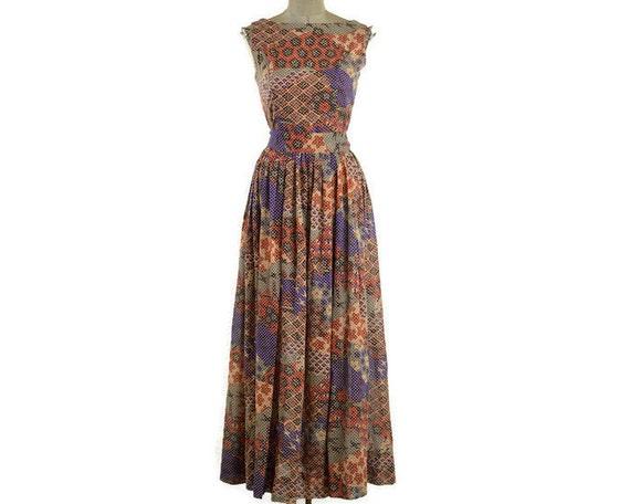 60s Vintage Sleeveless Patterned Maxi Summer Dress