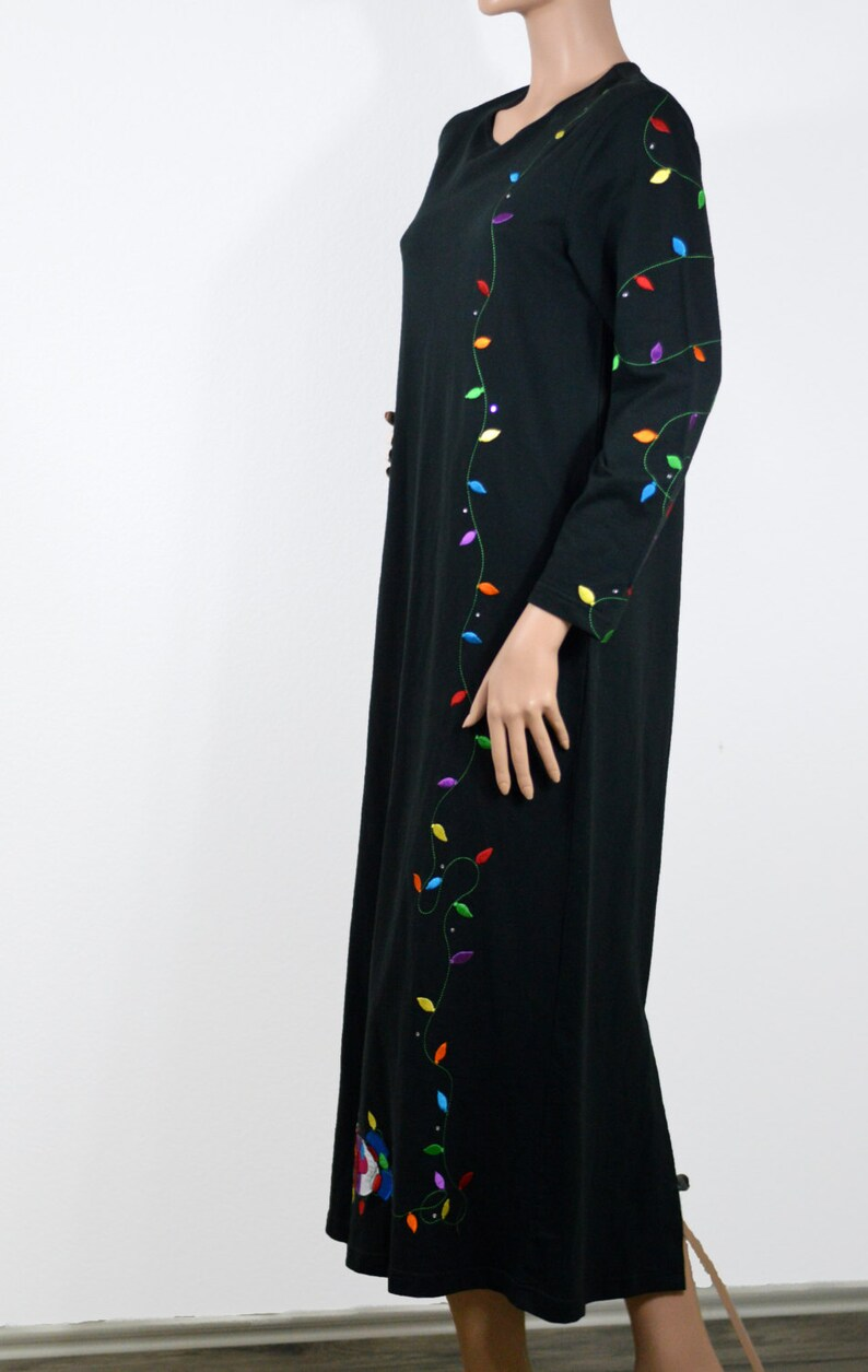 Vintage Ugly Tacky Christmas Maxi Dress Strings of Light and Rhinestones Sweater Party