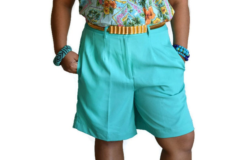 90\u2019s Vintage High Waisted Shorts Teal Polyester Sz 10
