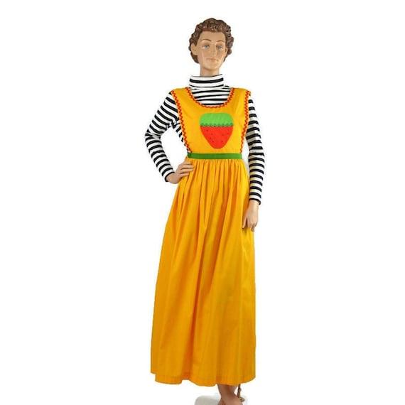 Vintage Pinafore Strawberry Maxi Dress
