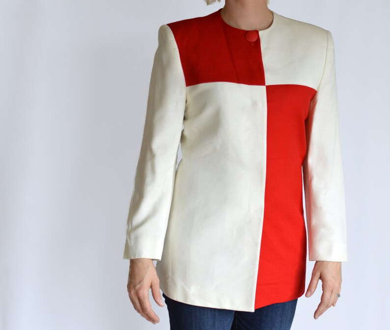 SALE 80/'s Vintage Red and White Long Sleeve Color Block Blouse Saville