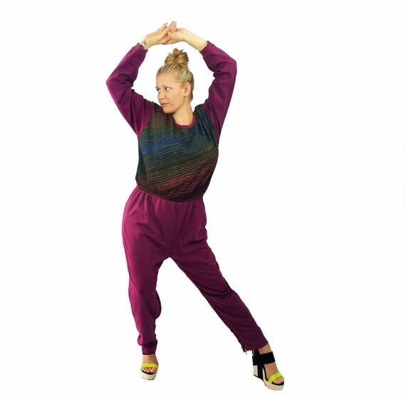 95d318b9aa8a Long Sleeve Jumpsuit Maroon and Stripes Leg Zipper Closure