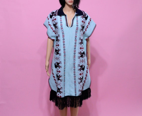 Vintage Mexican Poncho Sweater Light Blue
