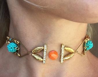 Handmade Goddess Choker, Floating, Turquoise, Beaded, Beach, Summer, Boho, Festival, Coachella, Sexy, Unique Necklace (Summer Crush Choker)
