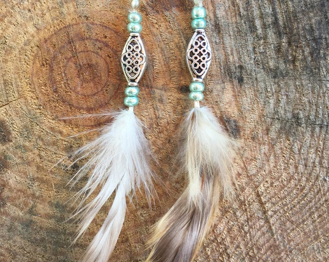 Handmade Boho Earrings, Feather, Tribal, Gypsy, Coachella, Festival, Western, Native, Celebrity, Unique (Pretty Little Feather Earrings)