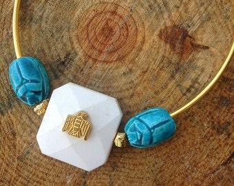 Handmade Festival Necklace, Boho, Tribal, Statement, Scarab, Beetle, Egyptian, Sexy, Celebrity, Ceramic, Runway (Subtle Change Necklace)