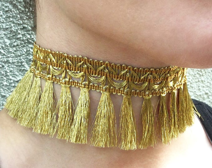 SEXY Handmade Tassel Choker, Boho, Gold, Festival, Royal, Fun, Elegant, Unique, Statement, Fabric, Goddess, Hot (Coachella Cutie Choker)