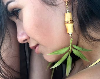 Handmade Leaf Earrings, Bamboo, Tropical, Goddess, Tribal, Beach, Sexy Earrings, Coachella, Unique, Boho, Long (Seaside Safari Earrings)