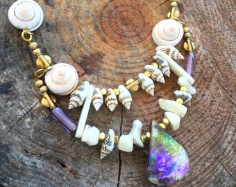 Handmade MERMAID Shell Necklace, Coral, Boho, Sea Goddess, Beach, Sexy, Festival, Summer, Tribal, Ocean, Unique (Pearl of the Sand Necklace)