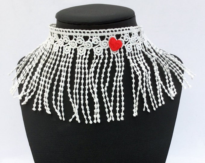 Handmade fringe choker, Boho, Renaissance, Royal, Sexy, Unique Collar, Goth, Pretty, Coachella, Heart, Festival  (Isn't That Sweet Choker)