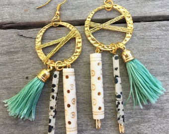 Handmade Tribal Earrings, Boho, Warrior, Gypsy, Tassel, Wood, Goddess, Summer, Sexy, Unique, Statement, Bone (Attention Grabber Earrings)