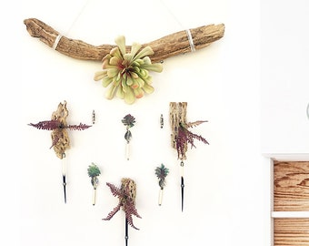 Handmade Succulent Air Plant Flower Wall Hanging ART Cactus Cholla Chime Faux Floral Hanging Backdrop Wall Decor Boho Festival Wall Jewelry