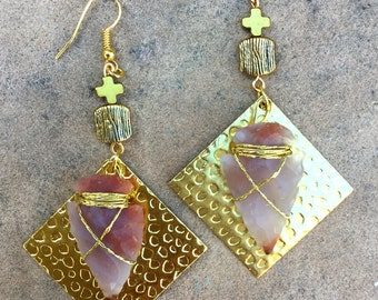 Handmade Arrowhead Earrings, Tribal earrings, Wire wrap, Boho, Dangle, Festival, Celebrity, Native, Cross, UNIQUE (Nativelicious Earrings)