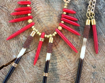 REAL QUILL Handmade Tribal Necklace, Boho, Spike, Festival, Statement, Sexy, Celebrity, Unique, Native (Survivor Couture Immunity Necklace)
