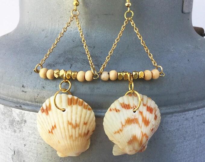Handmade Shell Earrings, Boho, Festival, Goddess, Beach, Summer, Gypsy, Coachella, Tribal, Unique, Sexy, Triangle (Bahama Beauty Earrings)