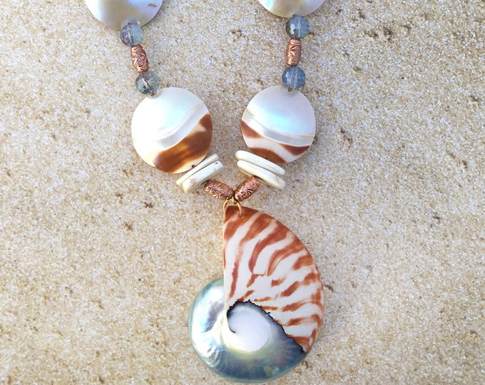 Handmade Shell Necklace, PRETTY, Beach, Summer, Pearl, Ocean, Mermaid, Boho, Goddess, Sexy, Gypsy, Festival, Unique (Blue Mist Necklace)