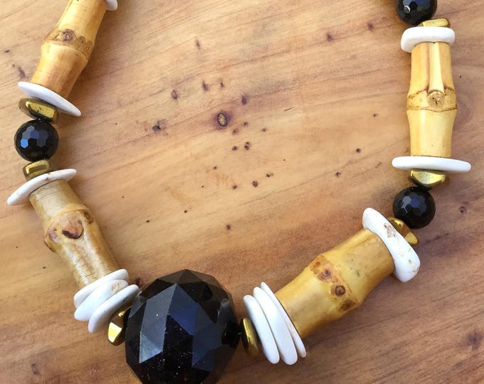 Handmade Bamboo Necklace, Boho, Beach, Summer, Onyx, Festival, Goddess, Statement, Gypsy, Tribal, Sexy, Unique (Beach Blackout Necklace)