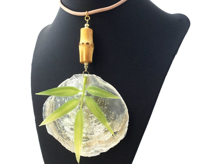 Handmade Leaf Necklace, Capiz Flat Shell, Bamboo, Tropical, Goddess, Tribal, Beach, Sexy Choker, Coachella, Unique (Seaside Safari Necklace)