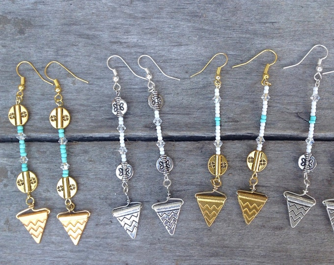 PRETTY Handmade Festival Earrings, Gypsy, Boho, Festival, Dangle, Sexy, Triangle, Arrow, Goddess, Celebrity, Native(Sandman earrings set 1)