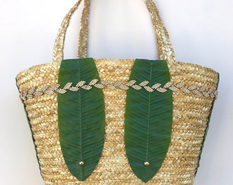 Handmade Unique Straw Banana Palm Leaf Bag, Boho, Summer, Beach, Festival, Sexy, Nature, Bling, New, ONE OF A KIND (Tropical Forest Tote)