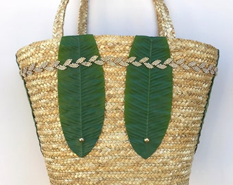 Handmade Straw Bag, Banana Palm Leaf Decor, Boho Purse, Summer Beach Bag, Festival Clutch, Tropical Wedding Decor, Flower, Rhinestone Trim