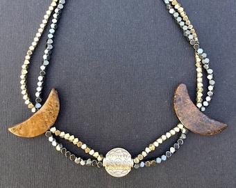 Handmade BOHO Choker Wood Silver Ethnic Coachella Summer Necklace Goddess Hippie Moon Sexy Unique Gypsy Fantasy (3 Moon Night Necklace)