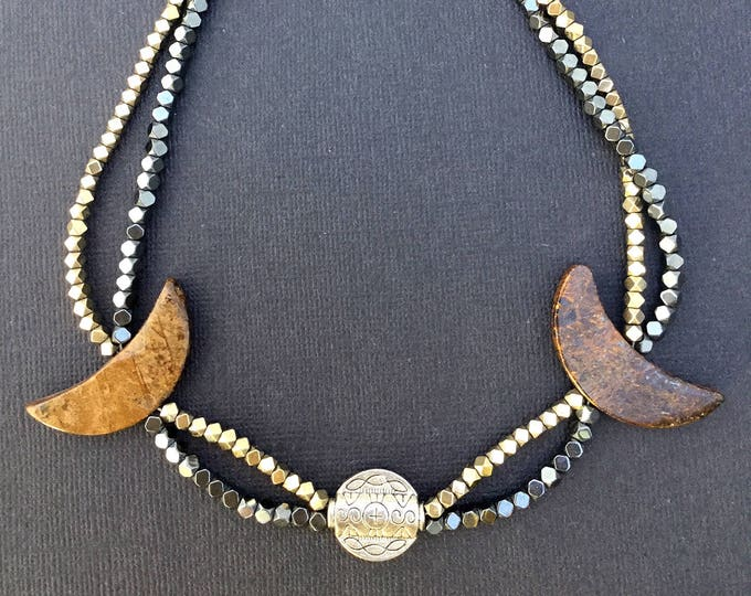 Handmade BOHO Choker Wood Silver Ethnic Coachella Summer Necklace Goddess Hippie Moon Sexy Unique Gypsy Fantasy (3 Moon Night Necklace)