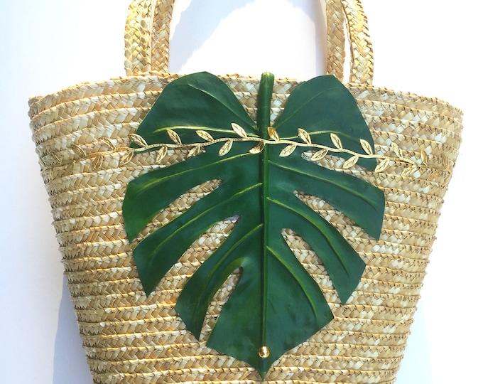 Handmade Palm Leaf Bag, Beach, Summer, Boho, Tropical, Exotic, Sexy Woven Straw Tote Festival, Nature Flower Purse Mermaid (Jungle Vibes Bag