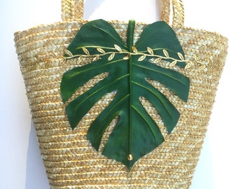 Handmade Palm Leaf Bag, Beach, Summer, Boho, Tropical, Exotic, Sexy Woven Straw Tote Festival, Nature Flower Purse Mermaid Jungle Vibes Bag