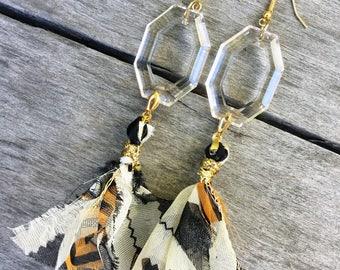 Handmade boho earrings, Scarf, Tribal, Mod, Festival, Chic, Sexy, Unique, Statement, Gold, Glass, Coachella, Gypsy (A Little Faded Earrings)