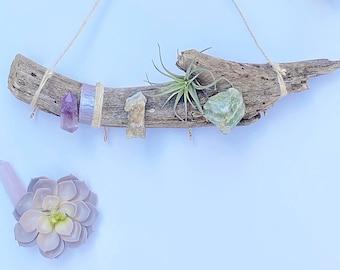Handmade Driftwood Decor, Air Plant Holder, Wood Branch, Crystal Point Stones, Chakra stones, Chakra Decor, Boho Wall Decor, Raw Crystals