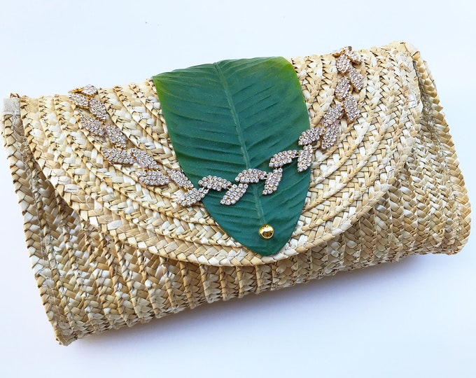 Handmade Unique Straw Banana Palm Leaf Clutch, Boho, Summer, Beach, Festival, Sexy, Nature, Bling, New, Flower Bag (Tropical Forest Clutch)