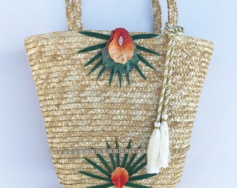 Handmade Floral Bag, Beach Bag, Straw Tote, Flower Petals, Palm Leaf, Tropical Design, Rhinestone Trim, Tassel Purse, ONE of a kind bag