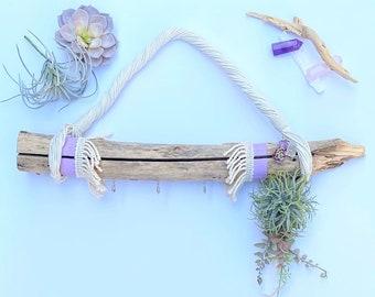 Handmade Driftwood Wall Art, Healing Crystals, Air Plant Decor, Macrame Wall Hanging, Beach Wall Art, Handmade Boho Decor, Zen Wall Art