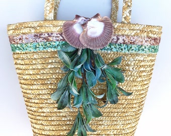 Handmade Unique Straw Shell Floral Sequence Leaf Bag, Tassel, Boho, Summer, Ribbon Trim Beach Decor, Tropical, Nature, Sexy, Coastal Tote