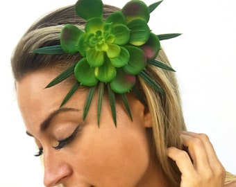 Handmade Succulent Flower Hair Clip, Sexy Unique Palm Leaf Bridal Boho Vine Flower Comb Floral Pretty Hair Pin Wedding (Tropical Tease Clip)
