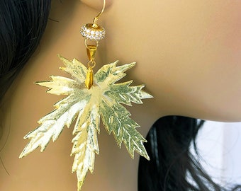 Handmade Upscale Weed Pot Leaf Earrings, Boho, Tribal, Festival, Goddess, Hippie, Unique, Tropical, SEXY, Fun (Sass with Class Earrings)