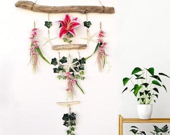 Handmade Flower Wall Hanging, Floral Wall Art, Starfish Wall Decor, Starfish Wall Art, Driftwood Wall Decor, Ivy Wall Art, Spring wall Art