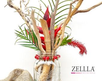 Handmade Driftwood Decor, Beach House Decor, Bamboo Decor, Tropical decor, Beach Wall Decor, Ball Jar Decor, Jungle Decor, Palm Leaf Decor