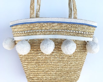 Handmade HUGE POM POM Tote, Beach Bag, Summer, Boho, Festival Tote, Metal, Basket, Fringe Trim, Tassel Bag, Wedding Purse, Bridal Tote, Cute