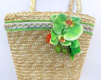 Handmade Unique Straw Orchid Floral Succulent Leaf Bag, Tassel, Boho, Summer, Ribbon Trim Beach, Tropical, Nature, Sexy, Asian Blossom Tote