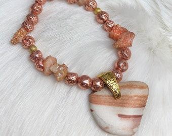 Handmade Beaded Bracelet, Raw Rock pendant, Druzy Quartz Crystal, Boho bracelet, Zen Meditation Bracelet, Yoga, Energy, Festival, Earthy