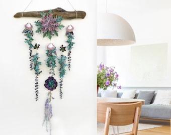 Handmade Sea Shell Wall Decor, Flower Wall Hanging, Succulent Wall Decor, Driftwood Wall Art, Fairy garden, Coastal decor, Hanging Succulent