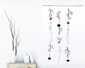 Handmade Asian Flower Wall Hanging ART Chime Bamboo Orchid Chinese Faux Floral Hanging Backdrop Wall Decor Boho Craft Festival Wall Jewelry