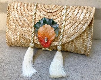 Handmade Tassel Purse, Floral Clutch, Beach Bag, Woven Straw Tote, Tropical Themed Wedding Gift, Unique Bag, Flower Petals, Bridal Bag