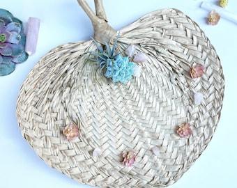 Handmade Fan, Sea Grass Fan, Boho Wall Decor, Tropical Fan, Succulent Wall Art, Mini Succulents, Succulent Gift, Healing Crystals, Straw Fan