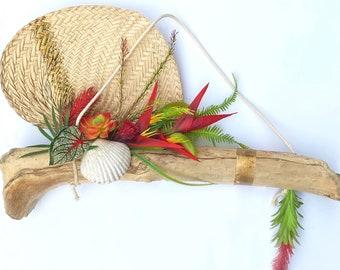 Handmade Tropical Wall Hanging, Driftwood Decor, Succulent Wall Art, Shell, Palm Leaf Decor, Fan, Beach Wall Art, Jewelry Holder Display