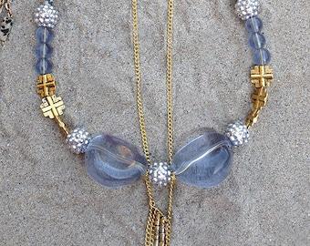 Handmade Statement Necklace, Boho, Tribal, Cross, Royal, Elegant, Rhinestone, Festival, Sexy, Celebrity, Unique (Royal Treasure Necklace)