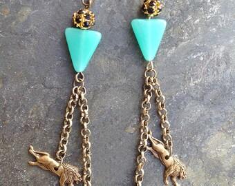 Handmade Tribal Earrings, Lion Earrings, Boho, Festival, Dangle, Chain, Vintage Brass, Sexy, Rhinestone (Roaring Gold Earrings (set two)