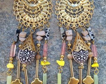 Handmade Tribal Earrings, Boho, Long Dangle Earrings, Vintage Brass, Festival, Native, Unique, Safari (Jungle Riches Earrings (set one)